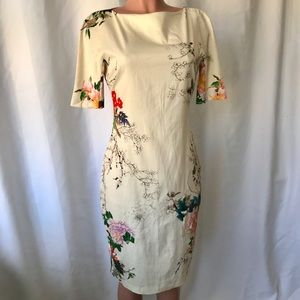Gorgeous Zara Asian floral print wiggle dress